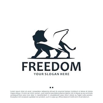 Liberdade, leão, guindaste, inspiração para o design de logotipo