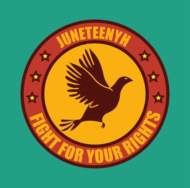 Liberdade pomba silhueta e lutar pelo seu sinal de direitos