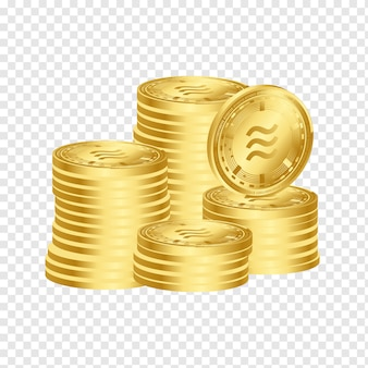 Libra digital crypto currency 3d conjunto de empilhamento de moedas de ouro
