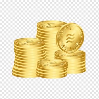 Libra digital crypto currency 3d conjunto de empilhamento de moedas de ouro