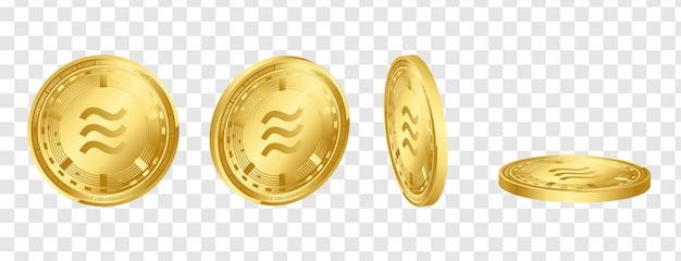Libra digital crypto currency 3d conjunto de moedas de ouro