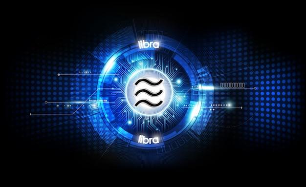 Libra moeda digital, dinheiro digital futurista, conceito de rede mundial de tecnologia, ilustração