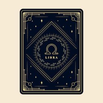 Libra signos do zodíaco, cartões do horóscopo, constelação de estrelas, cartão decorativo do zodíaco com moldura decorativa