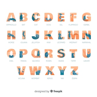 Lição alfabética com alfabeto coleção de animais