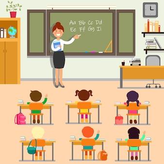 Lição de inglês na escola.