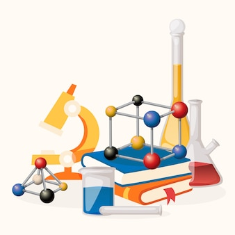 Lição de química fornece ilustração. equipamento de laboratório, como microscópio, frascos com líquido, formas de moléculas. pilha de livros