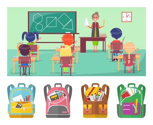 Lição educacional de geometria na escola para alunos