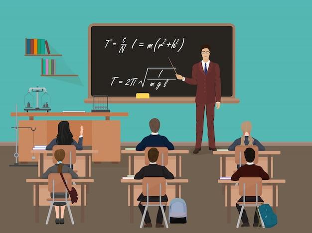 Lição escolar em sala de aula