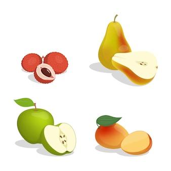Lichia, pêra, maçã e manga