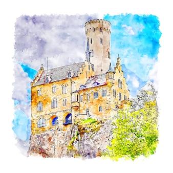 Lichtenstein castle germany ilustração de aquarela esboço desenhado à mão