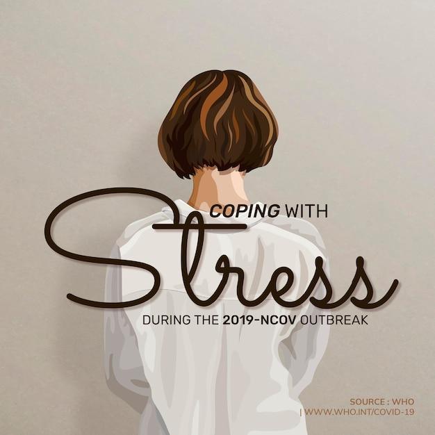 Lidando com o estresse durante a pandemia covid-19 para ilustração vetorial de saúde mental