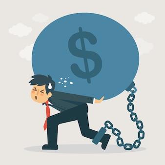 Lidar com a ilustração de dívida pesada.