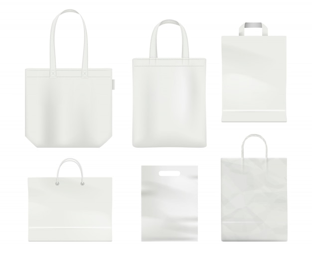 Lidar com modelo de vetor realista branco vazio de sacola de compras em branco