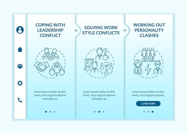 Lidar com o modelo de vetor de integração de conflitos de equipe. site móvel responsivo com ícones. passo a passo da página da web em telas de 3 etapas. conceito de comunicação de cores com ilustrações lineares