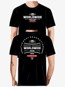 Líder da moda mundial design gráfico de camisetas tipografia premium vetor