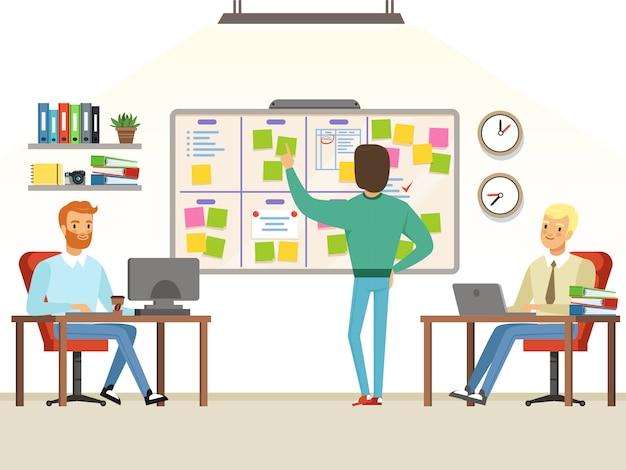 Líder de equipe faz tarefas de planejamento no quadro
