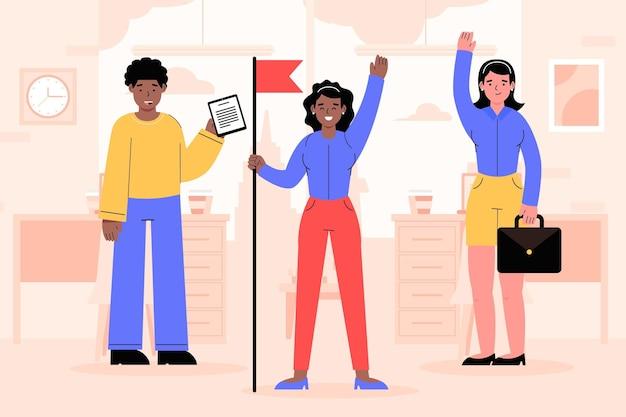 Líder de equipe feminina ilustrada