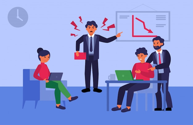 Líder de equipe furioso repreendendo funcionários