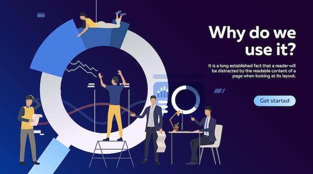 Líder de equipe, gerenciamento de projeto. empregados de escritório, construção de diagrama
