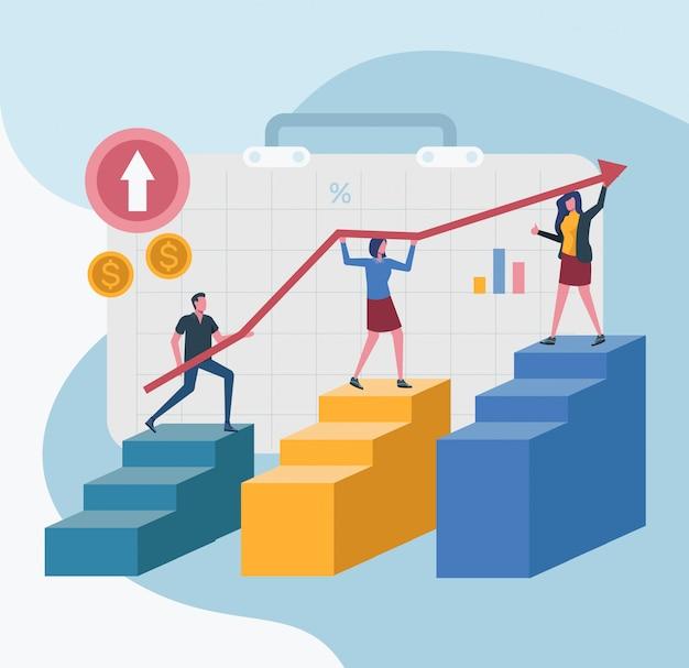 Líder de escritório líder de equipe atingir o gráfico de metas da empresa