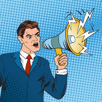 Líder de negócios de chefe de arte pop e ilustração vetorial de megafone