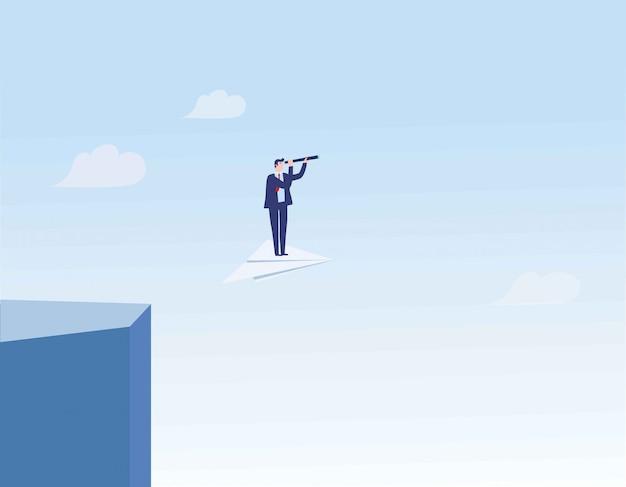 Líder de negócios, deixando a zona de conforto em um avião de papel