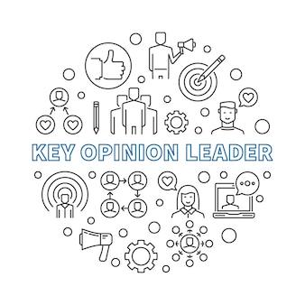 Líder de opinião chave linear kol rodada ilustração contorno