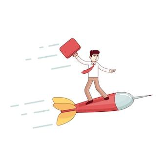 Líder do homem de negócios voando rapidamente para o sucesso dele