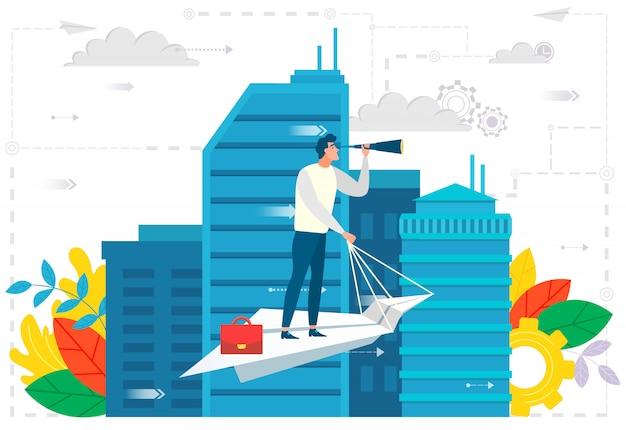 Líder em avião de papel na cidade, ambições de negócios