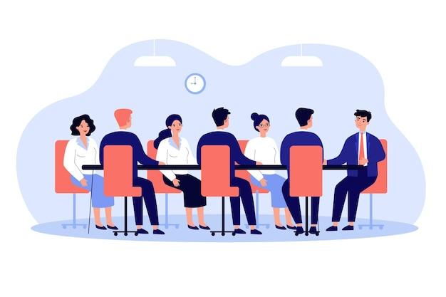 Líder empresarial realizando reunião corporativa com a equipe na ilustração da sala de reuniões