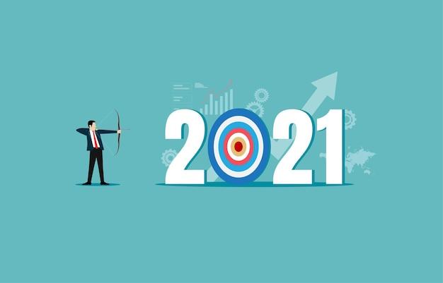 Líder empresário atirando arqueiro do ano alvo 2021.