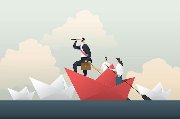 Líder empresário olhando através de um telescópio em um barquinho de papel
