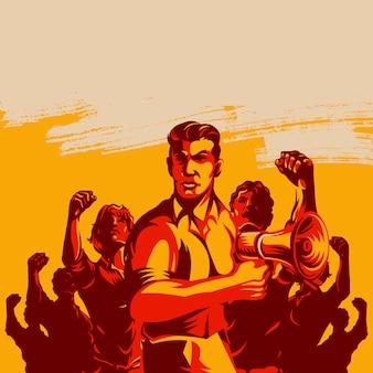 Líder homem, frente, um, torcida multidão, segurando, megafone