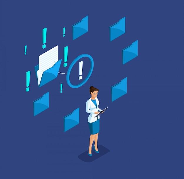Líder isométrica, mulher de negócios, encontrou o arquivo de análise de dados em uma das pastas do tablet, telefone, smartphone, geração y