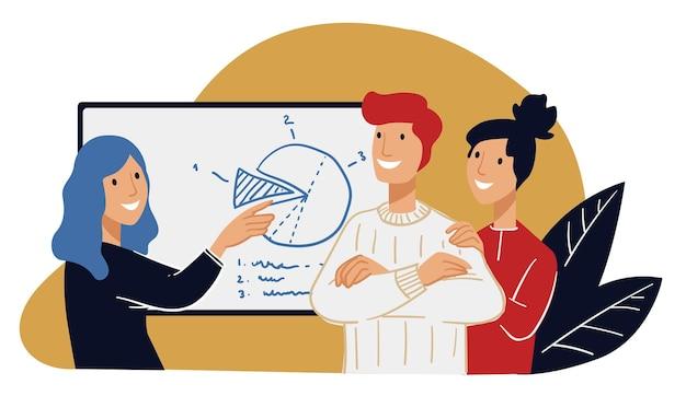 Líder ou chefe mostrando estratégia ou plano para novatos