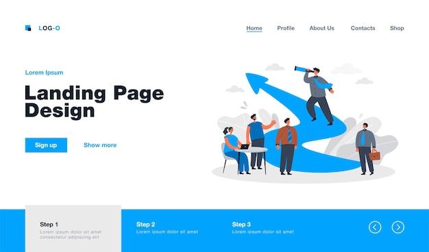 Liderança de desenho animado e trabalho em equipe na página de destino do desafio empresarial em estilo simples