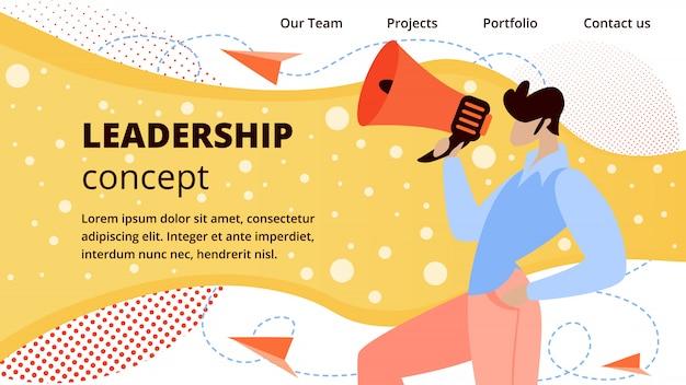 Liderança de negócios on-line plana web banner