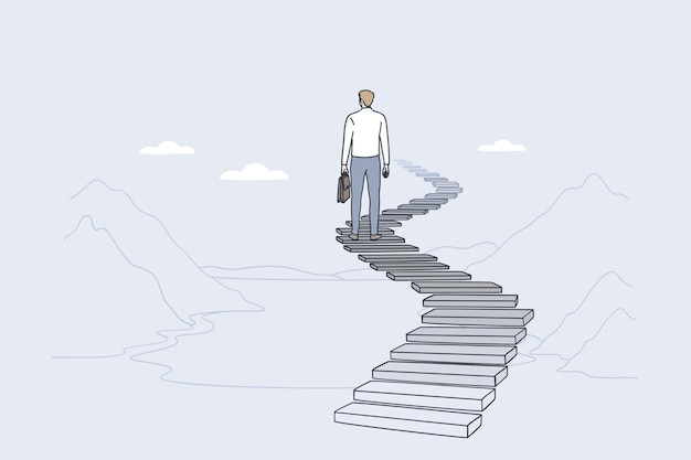 Liderança de sucesso alcançando o conceito de meta