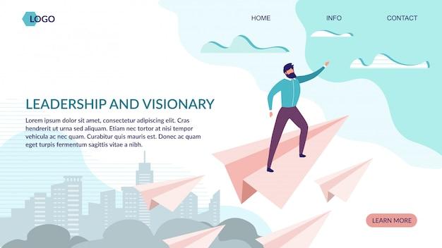 Liderança e página de destino visionário