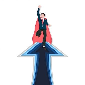 Liderança empresarial como um conceito de herói para o sucesso, a conquista e o vencedor.