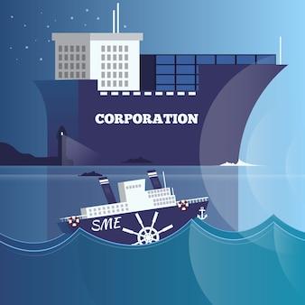 Liderança, ilustração de estrutura de negócios