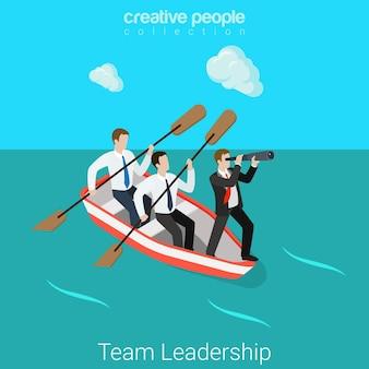 Liderança no conceito de hr isométrica plana da equipe de negócios empresários em barco a remos - dois remadores, um líder de chefe de gerente de capitão.