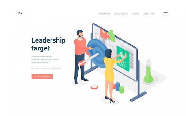 Líderes da empresa analisando dados alvo na ilustração do quadro branco
