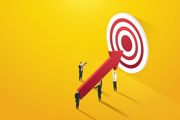 Líderes de empresários apontando para metas líder de empresários segurando grandes flechas no alvo