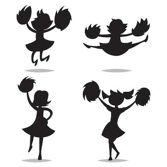 Líderes de torcida com pompons silhueta negra de crianças.