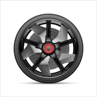 Liga de roda de carro cinza preto realista com pneu.