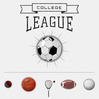 Liga insígnia da faculdade e rótulos de futebol
