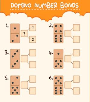 Ligação de número de dominó de madeira