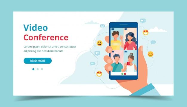 Ligação em grupo com amigos, videoconferência. mão segurando o smartphone.