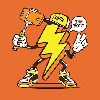 Lightning bolt selfie characte